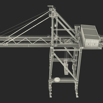 Port Container Crane Red with Container. Render 44