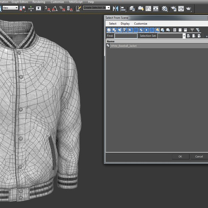 White Baseball Jacket. Render 14