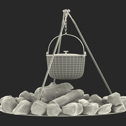 Campfire with Tripod and Cooking Pot. Render 23