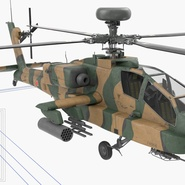 AH-64D Apache Longbow Japan Rigged. Preview 5
