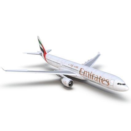Jet Airliner Airbus A330-300 Emirates Rigged. Render 26