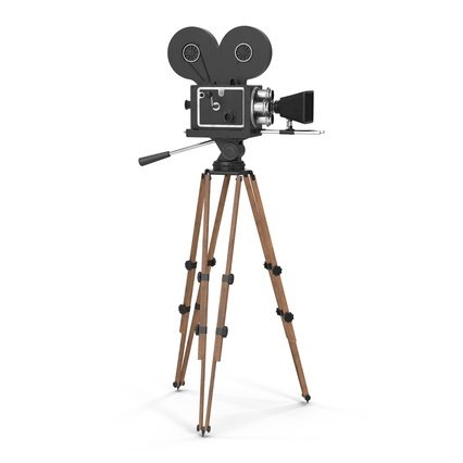 Vintage Video Camera and Tripod. Render 2