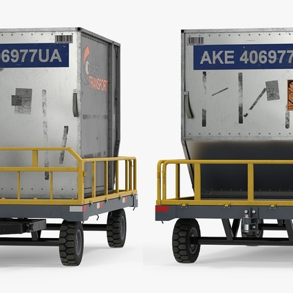 Airport Luggage Trolley Baggage Trailer with Container. Render 7
