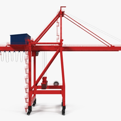Port Container Crane Red with Container. Render 9