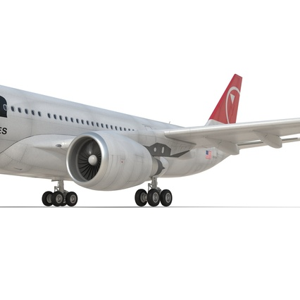 Jet Airliner Airbus A330-200 Northwest Airlines Rigged. Render 42