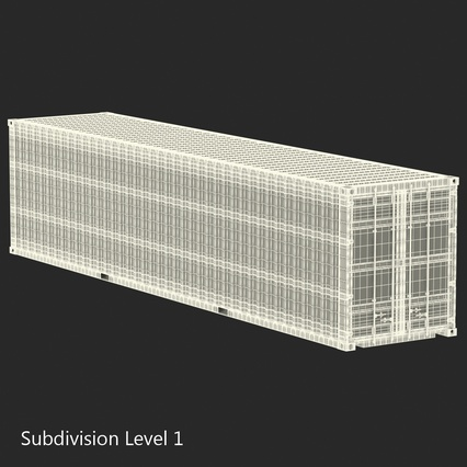 40 ft High Cube Container White. Render 32