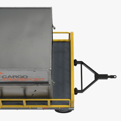 Airport Luggage Trolley Baggage Trailer with Container. Render 16