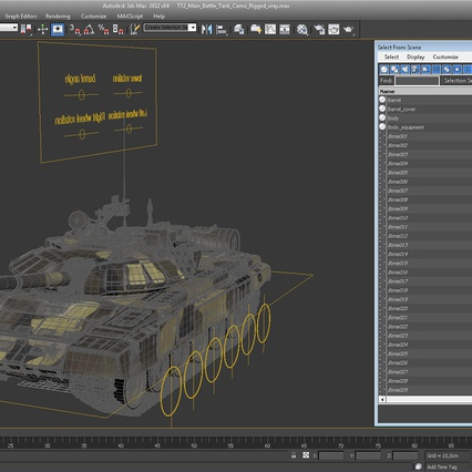 T72 Main Battle Tank Camo Rigged. Render 22