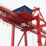 Port Container Crane Red with Container. Preview 18