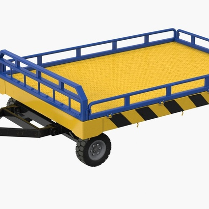 Airport Transport Trailer Low Bed Platform with Container Rigged. Render 5