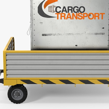 Airport Luggage Trolley with Container. Render 8