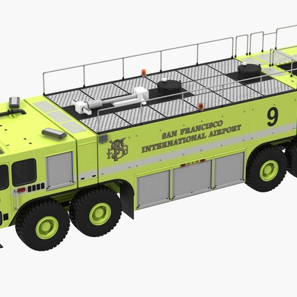 Oshkosh Striker 4500 Aircraft Rescue and Firefighting Vehicle Rigged. Render 3