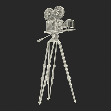 Vintage Video Camera and Tripod. Render 34