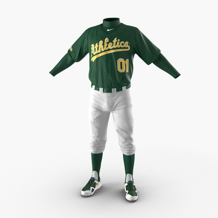 Baseball Player Outfit Athletics 3. Render 5