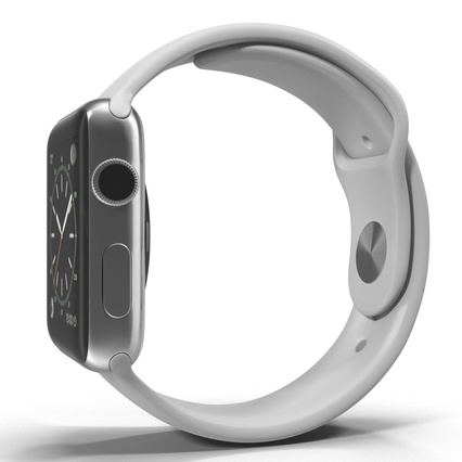 Apple Watch Sport Band White Fluoroelastomer 2. Render 12