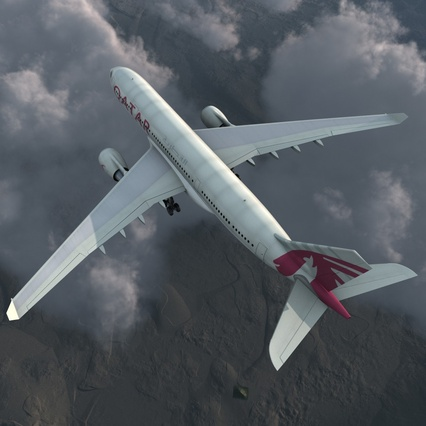 Jet Airliner Airbus A330-200 Qatar. Render 8