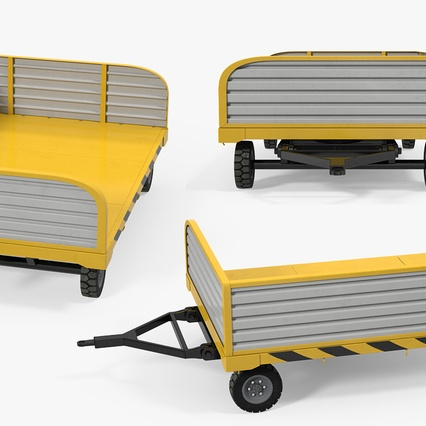 Airport Luggage Trolley with Container. Render 27