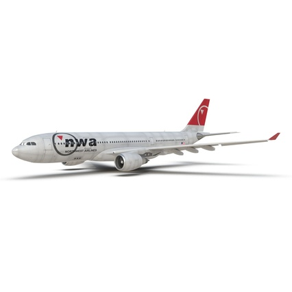 Jet Airliner Airbus A330-200 Northwest Airlines Rigged. Render 18