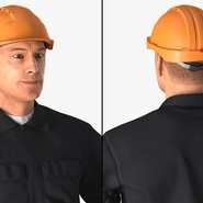 Worker Black Uniform with Hardhat Standing Pose. Preview 10