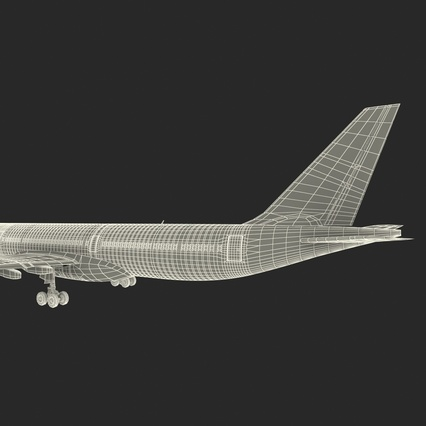 Jet Airliner Airbus A330-300 Emirates Rigged. Render 62