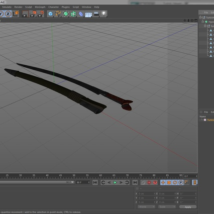 Turkish Yatagan Sword with Sheath. Render 19