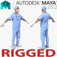 Male Surgeon Asian Rigged with Blood for Maya