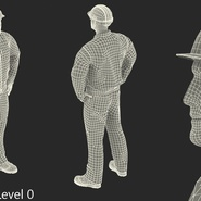 Worker Black Uniform with Hardhat Standing Pose. Preview 18