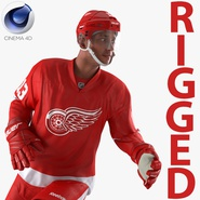 Hockey Player Red Wings Rigged for Cinema 4D