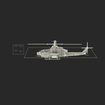 Attack Helicopter Bell AH 1Z Viper Rigged. Render 6