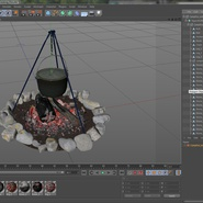 Campfire with Tripod and Cooking Pot. Preview 21