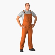 Worker In Orange Overalls Standing Pose. Preview 3