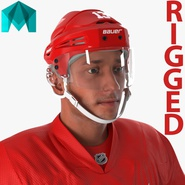 Hockey Player Red Wings Rigged for Maya