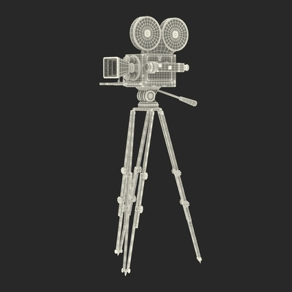 Vintage Video Camera and Tripod. Render 37