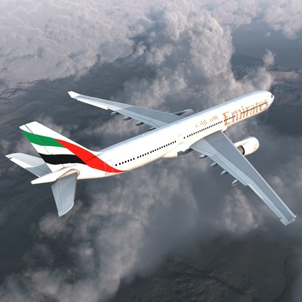 Jet Airliner Airbus A330-300 Emirates Rigged. Render 9