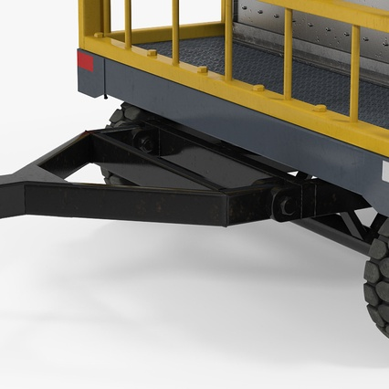 Airport Luggage Trolley Baggage Trailer with Container. Render 17