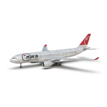 Jet Airliner Airbus A330-200 Northwest Airlines Rigged. Render 3