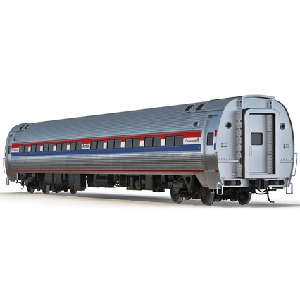 Railroad Amtrak Passenger Car 2. Render 6