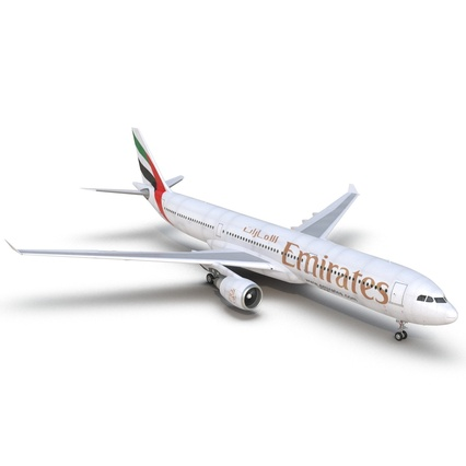Jet Airliner Airbus A330-300 Emirates Rigged. Render 27