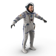 Russian Astronaut Wearing Space Suit Sokol KV2 Rigged for Maya. Preview 9