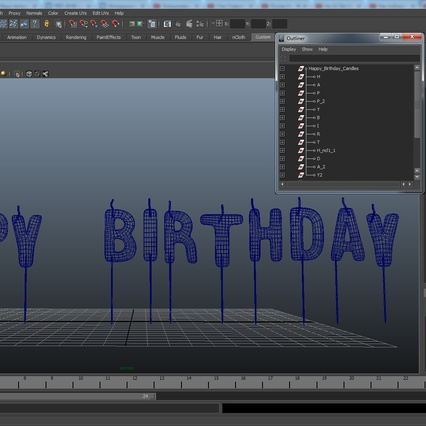 Happy Birthday Candles. Render 15