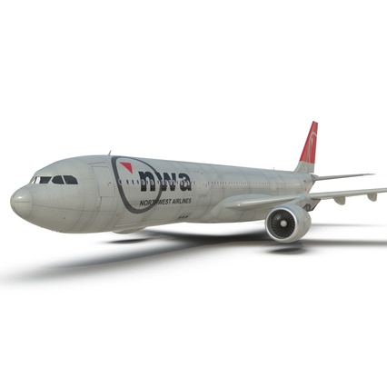 Jet Airliner Airbus A330-300 Northwest Airlines Rigged. Render 37