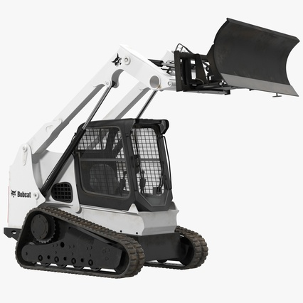 Compact Tracked Loader Bobcat With Blade Rigged. Render 1