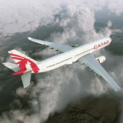Jet Airliner Airbus A330-300 Qatar Rigged. Render 9