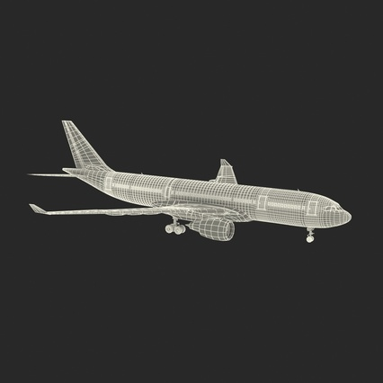 Jet Airliner Airbus A330-200 Qatar. Render 4