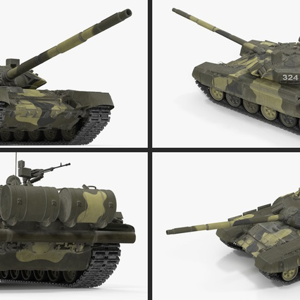 T72 Main Battle Tank Camo Rigged. Render 12