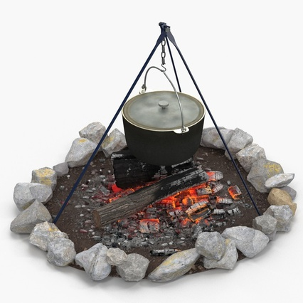 Campfire with Tripod and Cooking Pot. Render 5