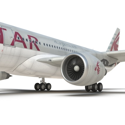Jet Airliner Airbus A330-200 Qatar. Render 42