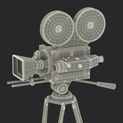 Vintage Video Camera and Tripod. Render 41