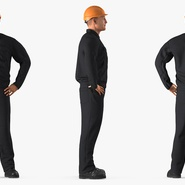 Worker Black Uniform with Hardhat Standing Pose. Preview 5