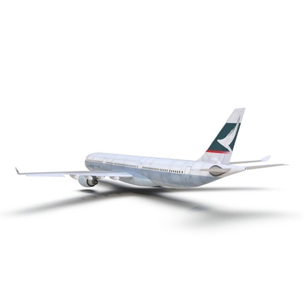 Jet Airliner Airbus A330-300 Cathay Pacific Rigged. Render 11